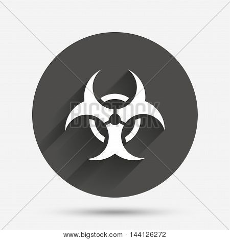 Biohazard sign icon. Danger symbol. Circle flat button with shadow. Vector