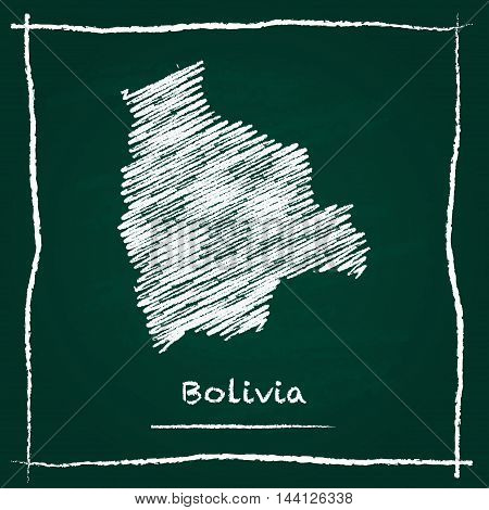 Bolivia Outline Vector Map Hand Drawn With Chalk On A Green Blackboard. Chalkboard Scribble In Child