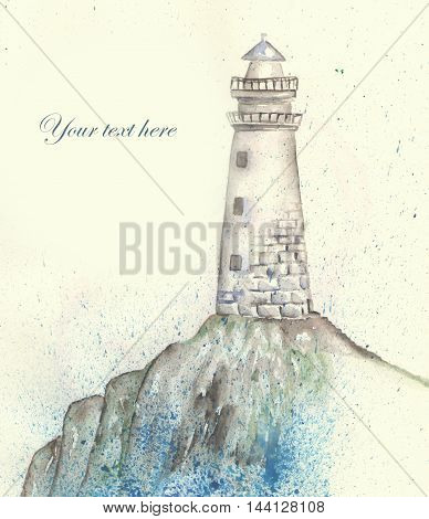 Illustration of a lighthouse on the shore, pour over the sea spray, painted in watercolor. Template of postcard.