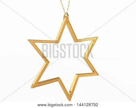 pendant on a gold chain on a white background 3D illustration