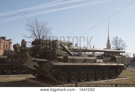 poster of Russia Saint Petersburg Museum of artillery Self-propelled gun Pion