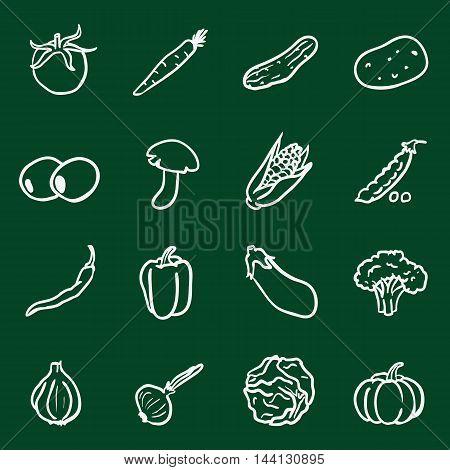 Vector Set of Chalk Doodle Vegetables Icons. Tomato, Carrot, Cucumber, Potato, Olives, Mushroom, Corn, Peas, Chili Peper, Paprika, Eggplant, Brocolli, Cauliflower, Garlic, Onion, Cabbage, Pumpkin.