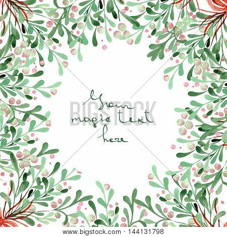 A Christmas wreath (frame) of a mistletoe painted in watercolor on a white background