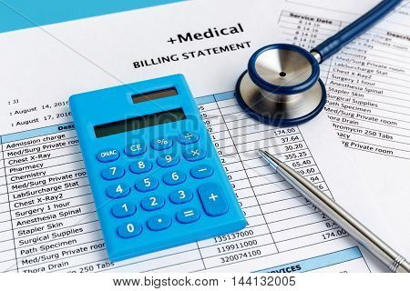 Health Care Cost Concept With Calculator