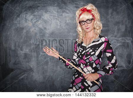 Retro Teacher With Wooden Pointer