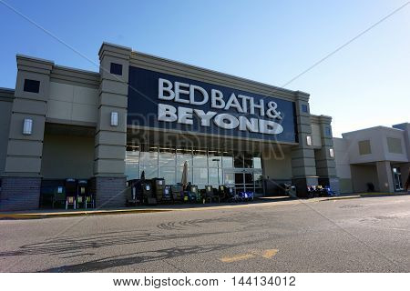 PETOSKEY, MICHIGAN / UNITED STATES - AUGUST 8, 2016: Bed Bath & Beyond offers a.varied selection of home goods, including bedding, kitchenware, towels & decor items, in Petoskey's Bay Mall.