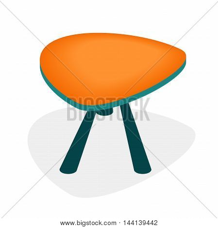 orange low table with three legs, triangular table for room, flat vector illustration, isometric