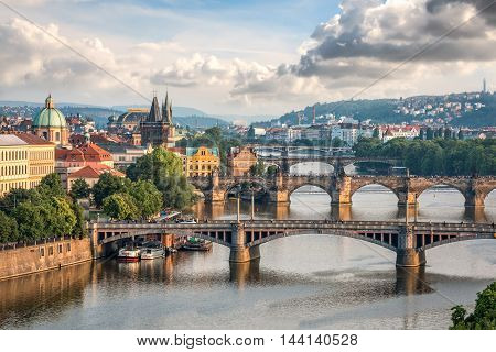 Prague Czech Republic - May 26 2016: Aerial view of Prague bridges in evening. In total there are 17 bridges over the Vltava river in Prague.