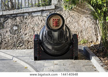 Gibraltar - March 17 2012: View of 30 tonne gun on street in Gibraltar.