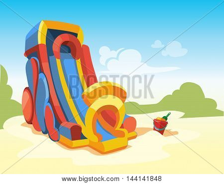 Vector illustration of big inflatable slides on playground.