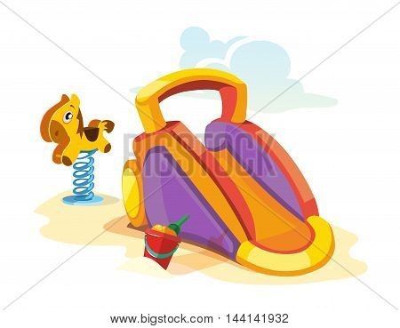 Vector illustration of bouncy children hills on playground. Pictures isolate on white background