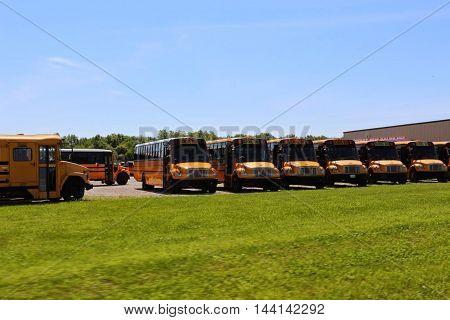 School Buses Park. Outdoors Bus Parking.