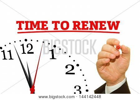 Businessman hand writing TIME TO RENEW message on a transparent wipe board. poster