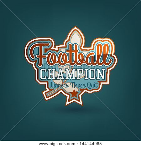 Color Vector Football Badge. Varsity Style. For Print, Web, Logo Or Apparel Patch