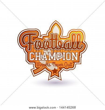 Color Vector Football Badge Isolated On White. Varsity Style. For Print, Web, Logo Or Apparel Patch