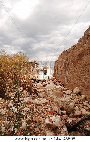 The rubble after the devastation of an earthquake