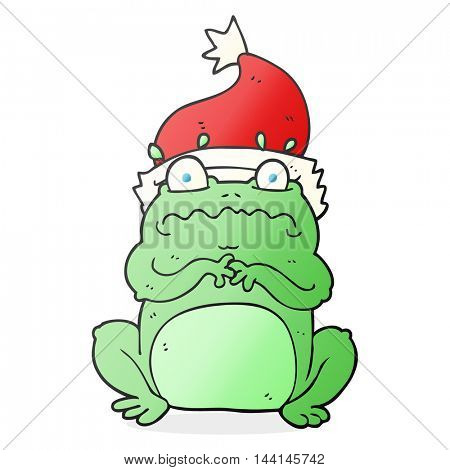 freehand drawn cartoon frog in christmas hat