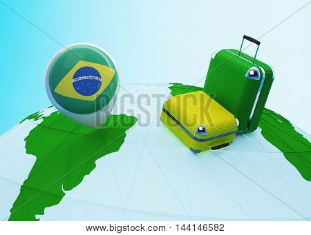 Low poly illustrated travel concept. 3d rendering. Travel to Brazil. Luggages and Brazilian flag pin on globe.