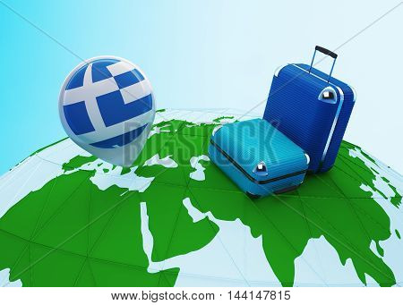 Low poly illustrated travel concept. 3d rendering. Travel to Greece. Luggages and Greece flag pin on globe.