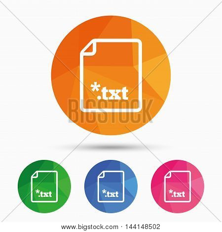 Text file icon. Download txt doc button. Txt file extension symbol. Triangular low poly button with flat icon. Vector