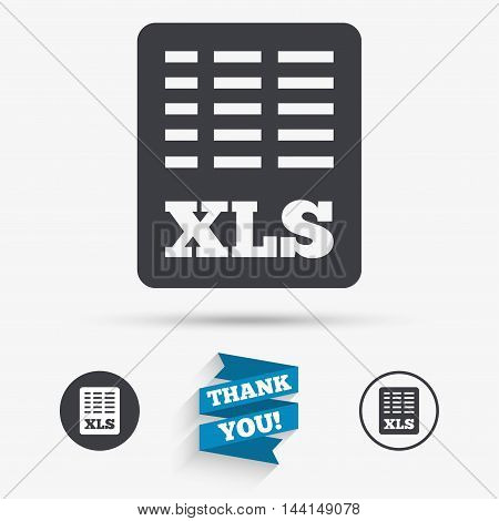 Excel file document icon. Download xls button. XLS file symbol. Flat icons. Buttons with icons. Thank you ribbon. Vector