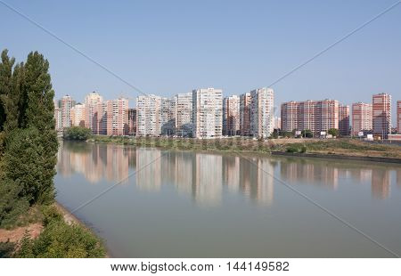 KRASNODAR, RUSSIA - AUGUST 4, 2012 :  View of the city of Krasnodar . Krasnodar a major regional city in the South of Russia
