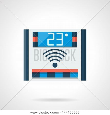 Digital thermostat for smart energy-saving heated system. Remote control of home temperature. Underfloor heating equipment. Single flat color design vector icon
