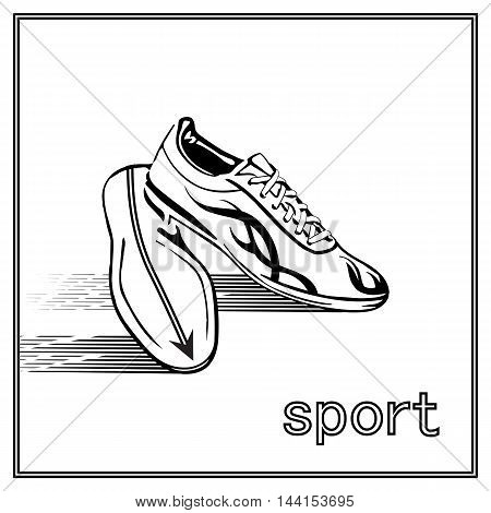 Running shoes on white background. shoes athlete. shoes black, shoes fitness, shoes exercise, shoes gym, shoes jogging, shoes lace, shoes foorwear. Vector.