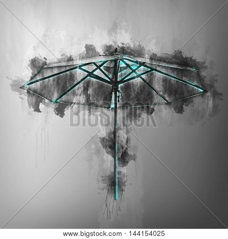 Grunge effect painterly beach umbrella in greyscale on a graduated grey background with splashed ink or pigment and copy space
