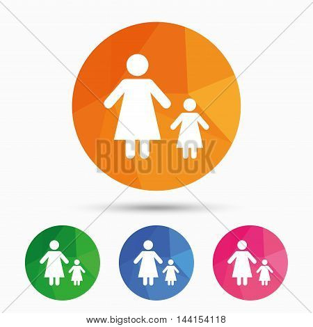 One-parent family with one child sign icon. Mother with daughter symbol. Triangular low poly button with flat icon. Vector