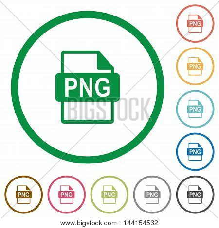Set of PNG file format color round outlined flat icons on white background