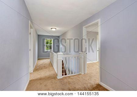 Upstairs Empty Hallway Interior In Lavender Color.