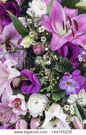 Elegant Bouquet in purple and White with a lily