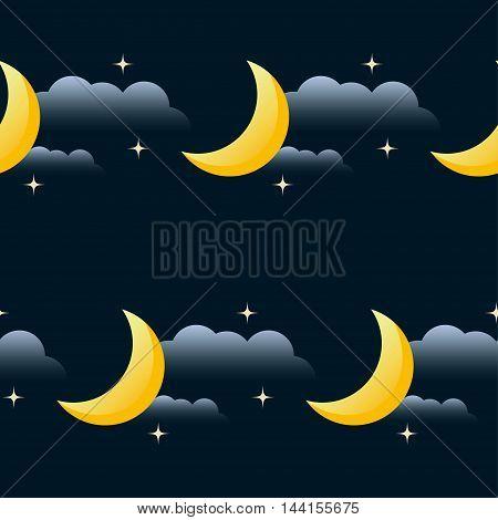 Good Night Vector Seamless Pattern Background. Cartoon Moon, Star And Cloud