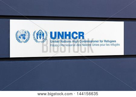 Geneva, Switzerland - August 14, 2016: The Office of the United Nations High Commissioner for Refugees also called UNHCR is a United Nations program mandated to protect and support refugees