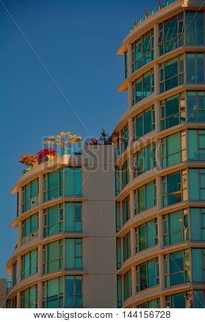 Building balcony flowers penthouse city blue sky