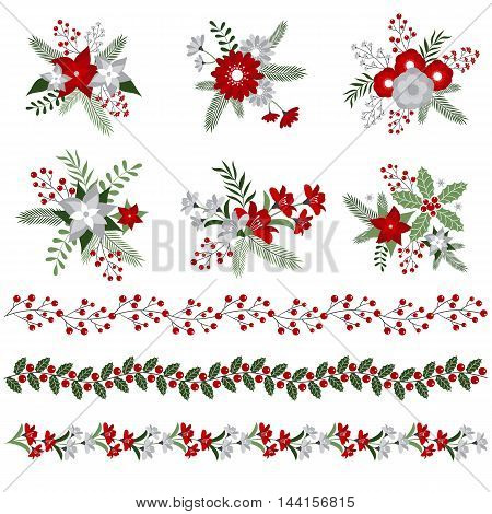 Vector Christmas bouquets and borders with flowers and berries