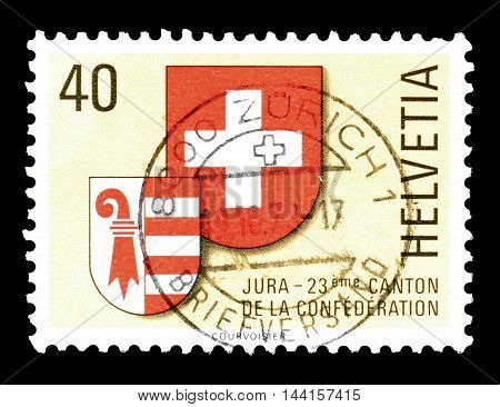 SWITZERLAND - CIRCA 1978 : Cancelled postage stamp printed by Switzerland, that shows coat of arms of Jura and Switzerland.