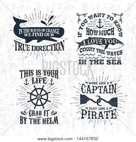 Hand drawn textured vintage labels set with whale steering wheel hooks vector illustrations and inspirational lettering.