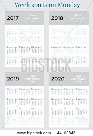 2017 2018 2019 2020 Calendar planner Week starts on Monday. Scale A4 dimension. Vector illustration