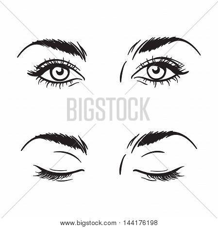 Isolated Black And White Beautiful Female Eyes Set - Open And Closed. Makeup Blank Template Vector