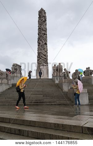 OSLO, NORWAY - JULY 1, 2016: This is world-famous Vigeland sculpture park the monument Monolith.