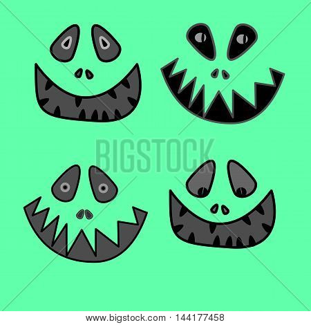 cartoon anime monster face with big toothy smile and sticking out tongue Vector