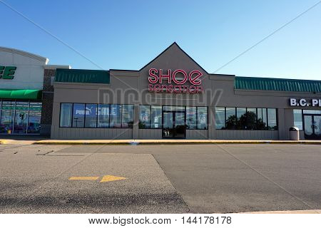 PETOSKEY, MICHIGAN / UNITED STATES - AUGUST 2, 2016: One may purchase shoes at the Shoe Sensation, in Petoskey's Bay Mall.