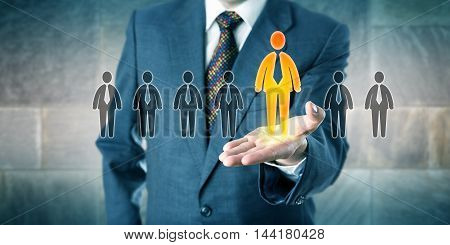 Successful candidate is standing out in a lineup of seven applicants. White collar profession concept for personal career development talent acquisition unlocking your potential and leadership.