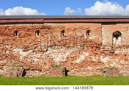 Fortress wall of Kirillo-Belozersky monastery by day near City Kirillov Vologda region Russia.