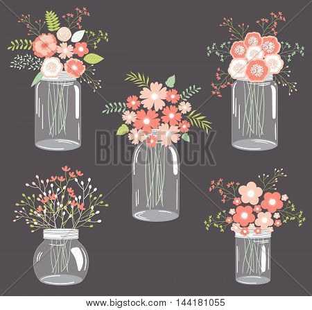 Vector pastel pink floral bouquets in mason jars