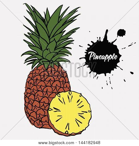 ripe juicy pineapple and sliced pineapple yellow flesh poster