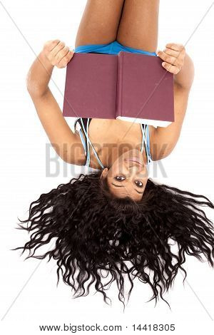 African American Hair Out With Book