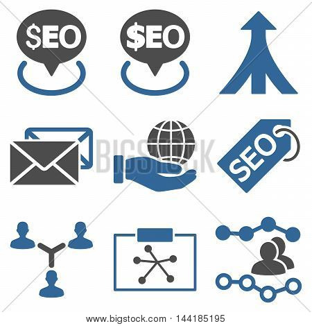 Seo vector icons. Pictogram style is bicolor cobalt and gray flat icons with rounded angles on a white background.